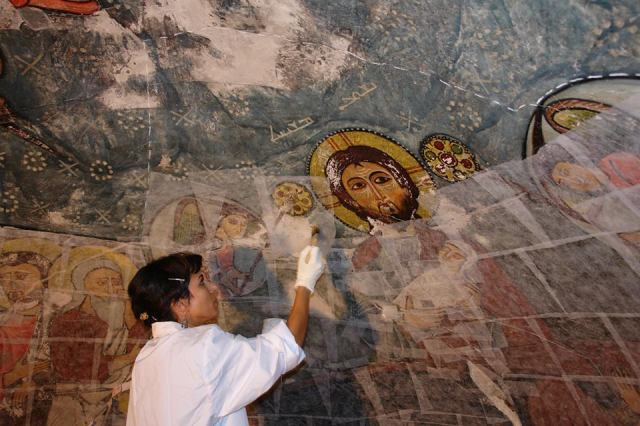 Cleaning and refurbishing at the monastery of Dayr al- Surian, Egypt.  Source - DeirAlSurianConservationProject FB