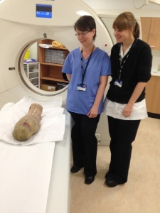 Baby Mummy being scanned.  Source - Swansea Egypt Centre.