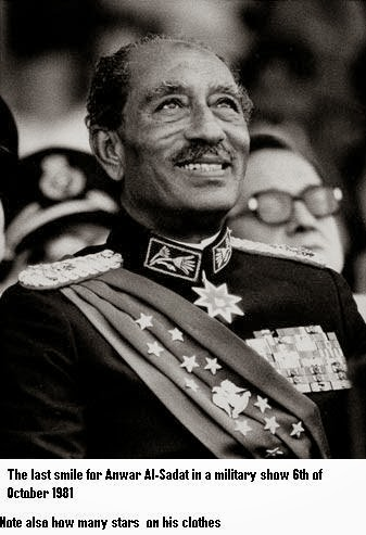 "A photo by Bill Foley entitled ""The Last Smile"" - taken of Sadat just before he was shot.  Source -  abrahamlincolninquran.blogspot.com-billfoleythe last smile"