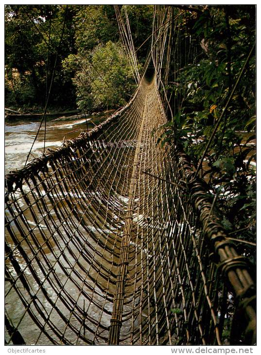 Hanging bridgens made of woven vegetation twine continue to be used today in rugged areas.  Source - www.delcampe.net