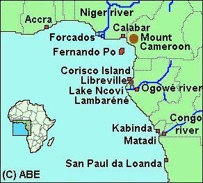 Region of the Ogowe watershed and surrounding areas in which Dr. Nassau worked.  Source -