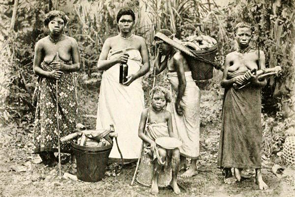 Members of an Njĕmbĕ, a Female Secret Society, with cassava, oil and other items for cooking.  Source- Nassau, Fetichism  in West Africa.