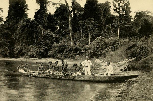 Travelling by canoe, Ogowe River.  Source - Nassau