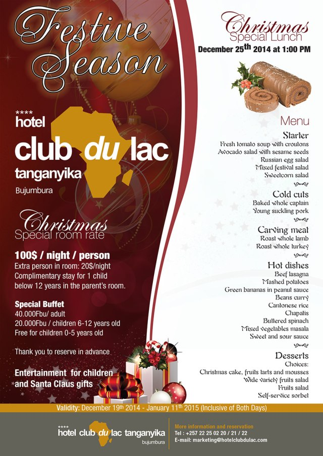 Christmas lunch this year - Hotel Club du Lac Tanganyka