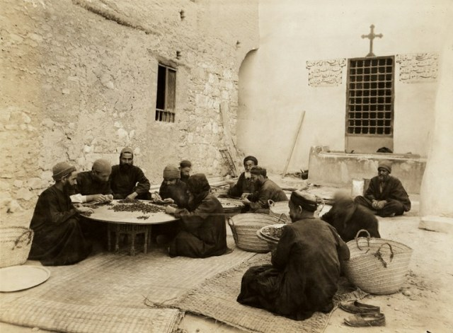 Monks sorting dried grapes,Monastery of St Anthony 1930 DBarton