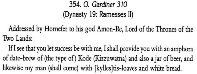 'Bribing' a god in order to succeed. Source - Wente - Letters from ancient Egypt